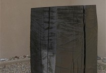 1. Reclamation 2010, 48 x 28 x 28, reclaimed old growth spruce, charred and covered in graphite, 1 of 4 (small) sculptures in this proposed project.